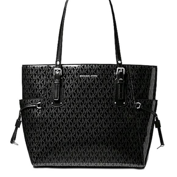 74b694ff921e Michael Kors Bags | Signature Black Glossy Voyager Tote | Poshmark